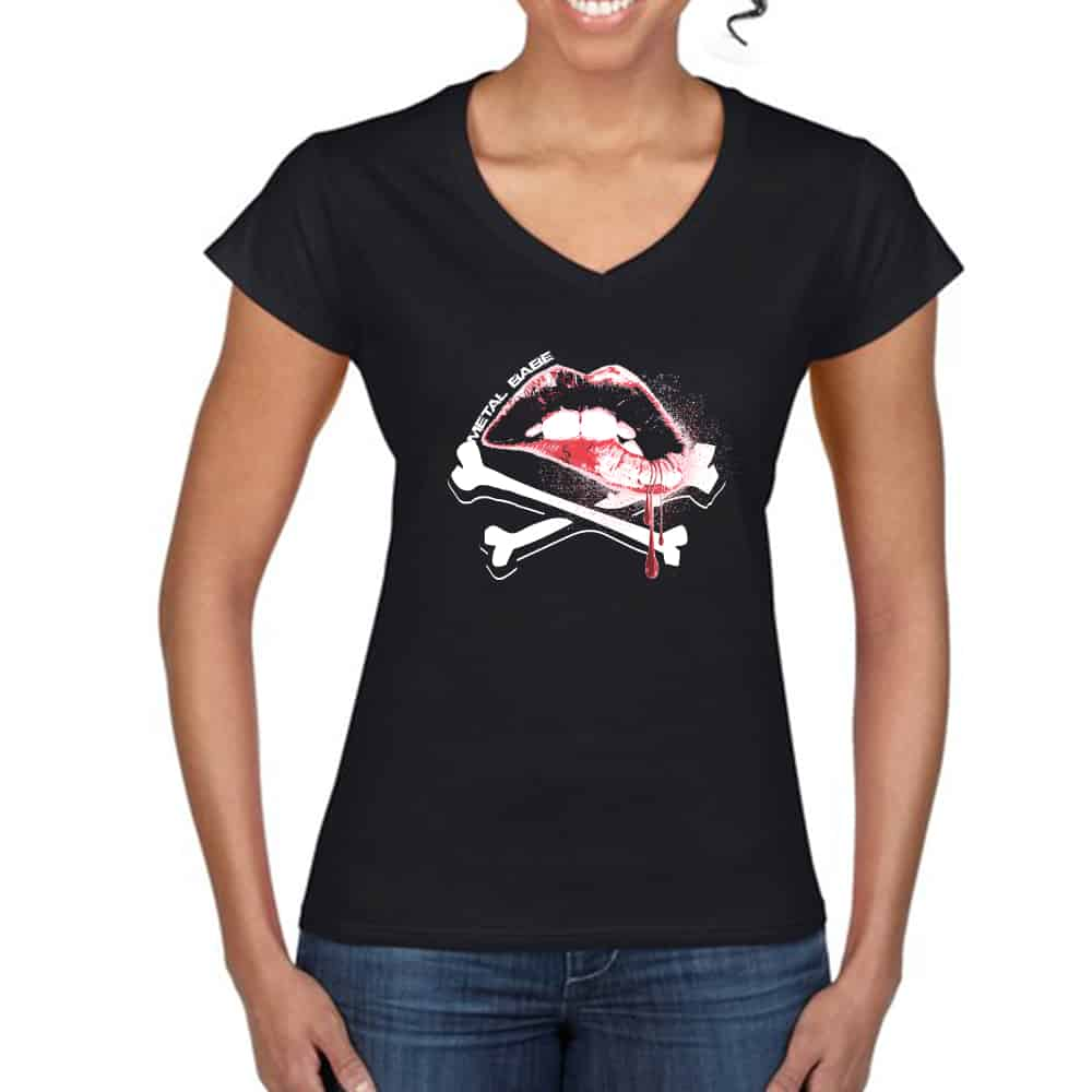 WOMENS VNECK CREW LIP GRAPHIC